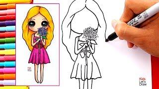 Cómo dibujar una CHICA KAWAII con FLORES en la Mano | How to draw a kawaii Girl with Flowers