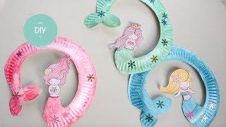 Zeemeerminnen knutselen met papieren bordjes