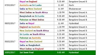 T20 World Cup 2017 Schedule & Time Table (Blind)