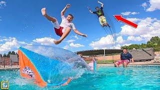 GIANT Water Blob Swimming Pool Launcher vs Carter Sharer!