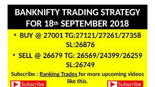 BANKNIFTY TRADING STRATEGY FOR 18 SEPTEMBER 2018