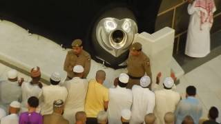 Subhanallah Emotional Beautiful Azan and Touching Hajr e Aswad Black Stone in Makkah  January 2016