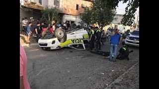 Así fue el accidente que terminó con un patrullero volcado y destrozado