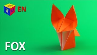 How make an origami fox. Paper craft for kids. Educational video for children