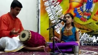 Aditi singing Kori Sevimparare at Sankat Mochan temple, Fremont CA