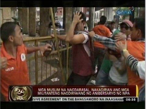 Mga muslim na nagdarasal, nakagirian ang mga militanteng nagdiriwang ng anibersaryo ng NPA