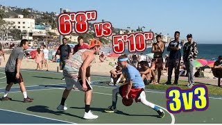"Professor vs 6'8"" skilled Ex D1 hooper.. 3v3 Super windy day Laguna Beach"