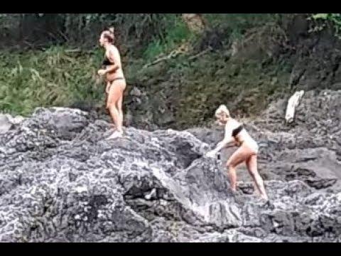 Extreme Girls Bikini Models Defy Death In Africa Devil's Pools At Victoria Falls