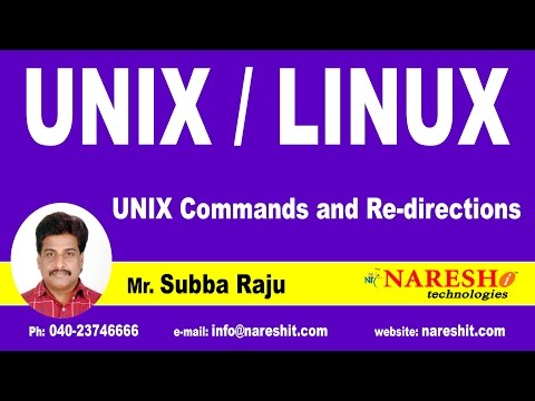 UNIX Commands and Re-directions | UNIX Tutorial | Mr. Subba Raju