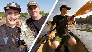 Fishing for Giant Bass on the River in a Canoe! - Vlog (Bass Fishing) w/Dad