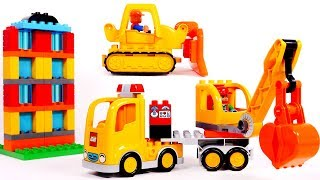 Crane Truck Construction Vehicles Learn Colors with Building Blocks for Children