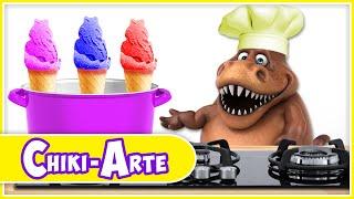 Un Dinosaurio Cocinero Hace Helados de Colores | Los Juguetes Son Divertidos
