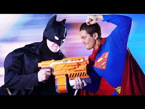 NERF Batman vs Superman Challenge