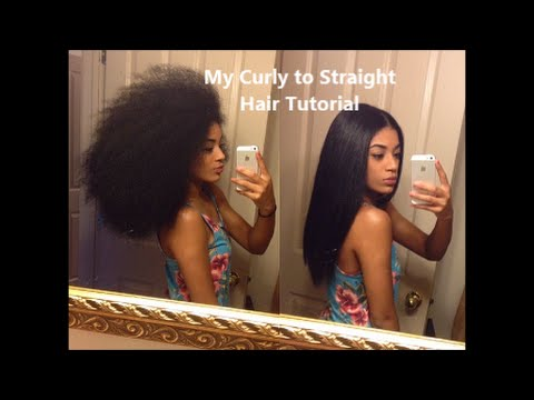 My Curly to Straight Hair Tutorial jasmeannnn