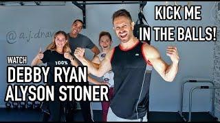Krav Maga Class - Groin Kick Tutorial W/ Debby Ryan & Alyson Stoner - AJ Draven