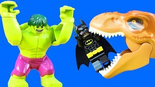 Lego Space Shuttle Launch Interrupted Batman & Hulk Smash Team Bashes Gorilla Grodd T-Rex Dinosaur