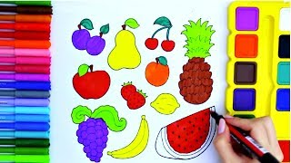Coloring Pages to Learn Colors with Fruits, ABC Song and more Nursery Rhymes