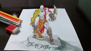 Desenhando o Kratos - God of War - em 3D - Drawing Kratos God of War in 3D
