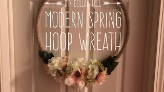 DIY Dollar Tree Modern Farmhouse Spring Hoop Wreath