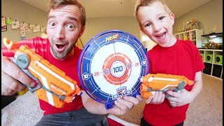 FATHER SON NERF TARGET TIME! / Laser Beam Attack!
