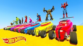 LEARN COLOR HOT WHEELS and BOATS w/ Superheroes Cartoon for kids and babies