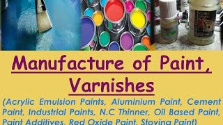 Manufacture of Paint, Varnishes