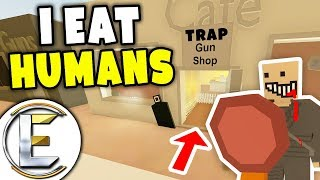 I EAT HUMANS - Unturned Roleplay (Cannibal With Trap Gun Shop Offer Weapons And Get Locked In Cages)