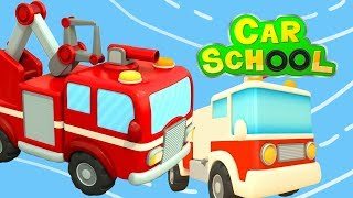 Car School for cars and trucks. Fire trucks for kids.