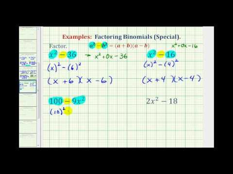 Ex:  Factor a Difference of Squares
