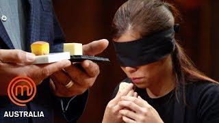 1 Inch Cube Taste Test Challenge...Blindfolded! | MasterChef Australia | MasterChef World