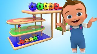 Learn Colors for Children with Baby Play Wooden TumblingToy SoccerBalls 3D Kids Learning Educational
