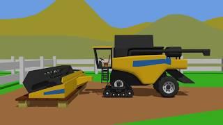 Yellow Combine Harvester Rubber Track | Fairy Tractor | Żółty Kombajn Gąsienicowy | Bajka Traktor