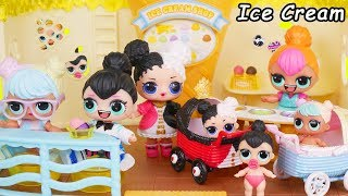 Neon QT LOL Surprise Doll Opens Ice Cream Shop for Heartbreaker Baby Custom Big Strollers Toy Video