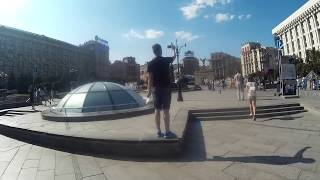 Tourists in Downtown of Kiev: Cafes, Restaurants, Shops, People