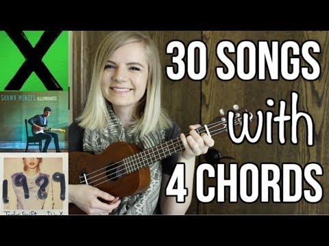 4 basic chords, 30 songs on ukulele