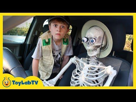 Giant T Rex Dinosaur vs Funny Skeleton with Halloween Surprise Toys & Dinosaurs for Kids