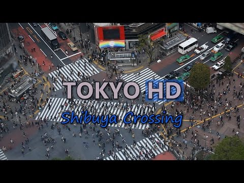 Tokyo Japan Shibuya Crossing Busy Shopping Street Car Traffic Jam People Crowd Video Stock Footage