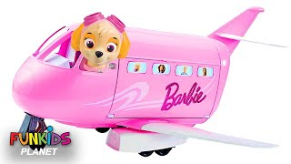 Learning Colors For Kids: Paw Patrol Skye & Chase Flies Barbie Glamour Vacation Jet Airplane Toy