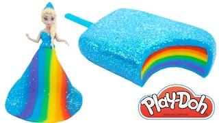 Play Doh Frozen! Make Rainbow Glitter Ice Cream & Elsa Dress with Play Dough Clay * RainbowLearning