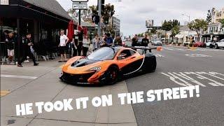 HE DROVE A RACE CAR ON THE STREET!