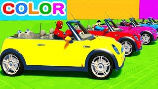 FUN LEARN COLOR MINI COOPER CARS w/ Superheroes for Toddlers 3D animation for Kids