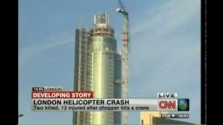 Helicopter crash Vauxhall London 2 dead 13 injured aircraft hits crane Thames skyscaper