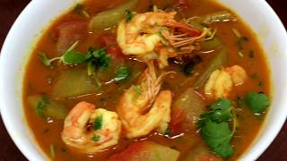 Watermelon rind curry with shrimp    চিংড়ি দিয়ে তরমুজের খোসার তরকারি