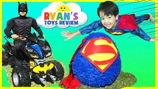 GIANT EGG SURPRISE OPENING SUPERMAN Imaginext SuperHeroes Toys Batman vs Superman Power Wheels