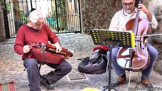 Hurdy Gurdy and Cello. Street Music Concert in La Morra, Langhe, Italy