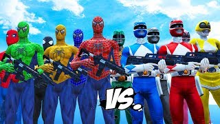 MIGHTY MORPHIN POWER RANGERS VS SPIDER-MAN, BLUE SPIDERMAN, GREEN SPIDERMAN, YELLOW SPIDERMAN