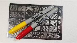 Sharpie nail art stamping technique