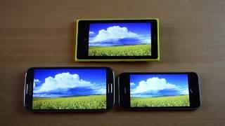 iPhone 5s vs Galaxy S4 vs Lumia 1020 Display Comparison
