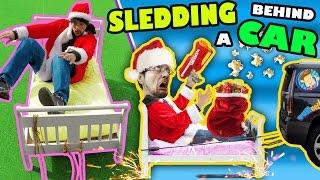 BED SLEDDING BEHIND A CAR + Unlimited POPCORN Life Hack w/ Nerf Gun (FUNnel Vision Donate Vlog/Skit)