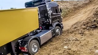 RC truck RESCUE! Scania 4x4 truck got stuck! Amazing tipper ACTION!